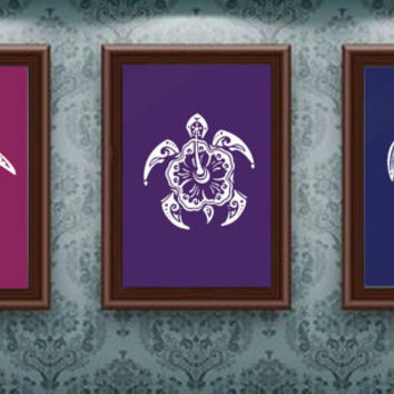 Set of 3 Sea Turtle Prints - Nautical Print - Bathroom/Wall Decor (upgrade available please see below for details) -  ANY ANIMAL AVAILABLE