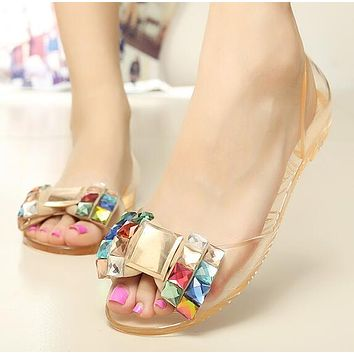 Women Style Bling Bowtie Jelly Casual Peep Toe Crystal Flat Sandals