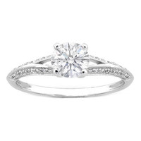 Engagement Ring - Round Diamond Pave Set Knife Edge Split Band Engagement Ring 0.18 tcw. In 14K White Gold - ES354