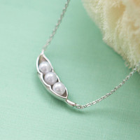 Three peas in a pod silver necklace
