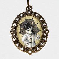 Snowman Necklace, Christmas Jewelry, Holiday Jewelry, Winter Necklace, Umbrella Jewelry, Oval Pendant