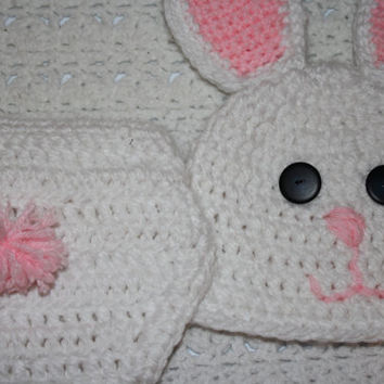 Bunny Baby Diaper Cover and Baby Hat Baby Shower With Ears and Tail