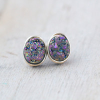 Druzy Pebble Studs - Unicorn