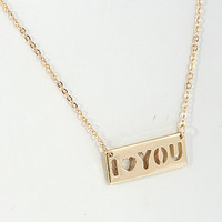 I Heart You Cutout Metal Pendant Necklace
