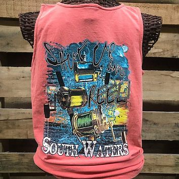 South Waters Comfort Colors Shut Up & Reel Fish Unisex Bright T Shirt Tank Top