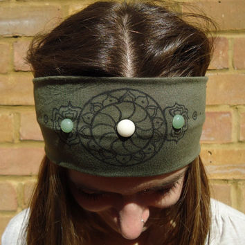 Wide Colorful Mandala Kaki Jersey Headband - Gypsy Hippie Boho Headband - Yoga Headband - Meditation Headband - Crystal Healing Headband