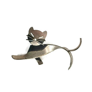 Sterling Silver Modernist Cat Brooch by Beaucraft, Modernist Brooch, Silver Brooch, Vintage Sterling Silver Jewelry, Gift for Cat Lover,