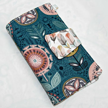 Cellphone, Iphone or Ipod Wallet Aqua Nearby Floral, Business Card organizer, Gift Card Holder Flower in Teal - Ready to Ship