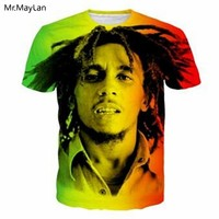 Music Jamaica Reggae Bob Marley 3D Print T-shirt Tees Men/women Streetwear Summer Crewneck T Shirt Hiphop Tees Boys Clothes 5XL