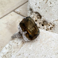 Vintage Honey Topaz Sterling Silver Filigree Ring, Size 7 - Art Deco / Art Nouveau / Boho Chic / Statement Ring / Stunning