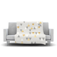 "Nick Atkinson ""Triangle Love"" Gray Gold Fleece Throw Blanket"