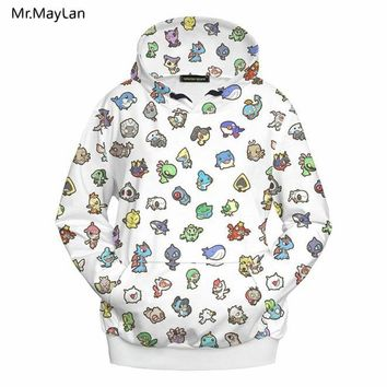 3D Print Cartoon  Jackets Men/Women Hiphop Streetwear Outwear Hipster Pullovers Hood Sweatshirts Boys White Coat ClothesKawaii Pokemon go  AT_89_9