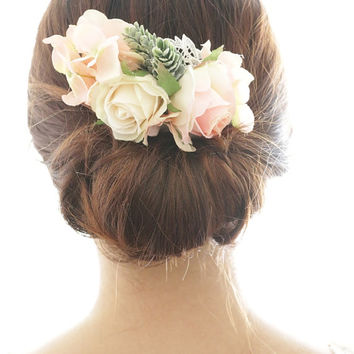 Bridal Hair Accessory, vintage ivory rose & winter pine , Silk Flower Hair comb, Bridesmaid, Rustic Romantic outdoor wedding woodland