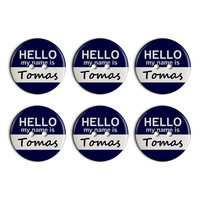 Tomas Hello My Name Is Plastic Resin Button Set of 6