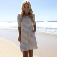 Organic Oatmeal Stripe Shift Dress