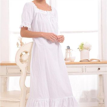 ESBONHS New Arrival Vintage Nightgowns Sleepshirts Elegant Lady Dresses Princess Sleepwear Print Home Dress Lace Sleep & Lounge #H119