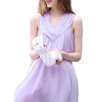 Light Purple Sleeveless Ruffled Maternity Dress