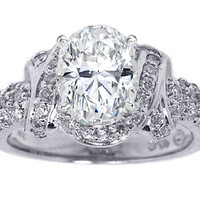 Engagement Ring - Oval Diamond Engagement Ring Laced Three Row Diamonds 0.6 tcw. In 14K White Gold - ES104