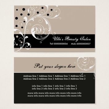 Beauty Salon floral scroll leaf black, pale taupe Business Card