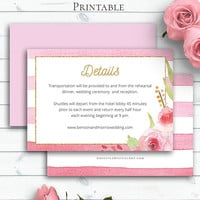 Personalized Wedding Details Card, Details Template, Insert Card, Printable Details, Invitation Insert,Watercolor Vintage Wedding,Blush Rose