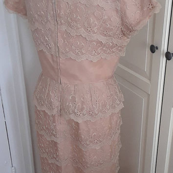 "50s Ferman O'Grady Mocha Cocktail Dress, Tea Length, Lace, Chiffon Bow, Embroidered, Wedding, Size M, 38"" Bust"