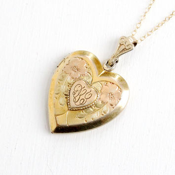 Vintage Gold Filled Over Sterling Floral Heart Locket Necklace- 1940s WWII Era Sweetheart Etched Flower Jewelry Monogrammed DLL
