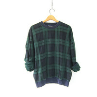 Vintage Green and blue plaid sweatshirt. oversized baggy preppy sweater M COED unisex
