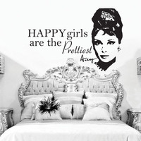 "Audrey Hepburn Happy Girls Are The Prettiest Quote Wall Decal 20""h X 30""w"