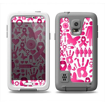 The Pink Collage Breast Cancer Awareness Samsung Galaxy S5 LifeProof Fre Case Skin Set