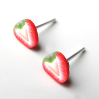 Strawberry Earring Studs Tiny Miniature Red White by MistyAurora