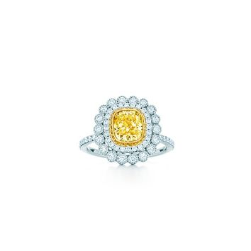 Tiffany & Co. -  Tiffany Enchant™ cushion-cut yellow diamond ring in platinum and 18k gold.
