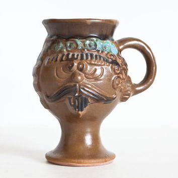 Vintage 1970s Stoneware Face Mug, Sculpted Hippie Mustache Man Coffee Cup
