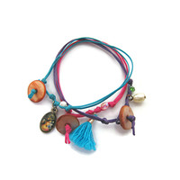 Cord Friendship Bracelets with Charms Set of 3 - Blew, Purple, Pink