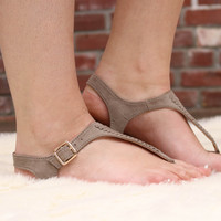 Taupe Suede Sandal