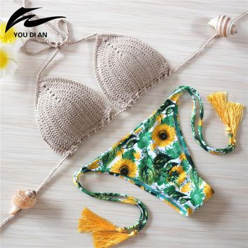 2016 Knitted Swimsuit Sexy Swimwear women summer dress Handmade Crochet Bikinis women Brazilian bikini swimming suit for women