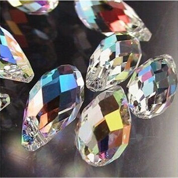100Pcs/lot 12mm Sharp Drop Beads Crystal Glass Beads Diy Beads Material  piedras y cristales Fit Jewelry Necklace DIY Making
