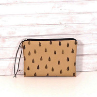 Leather purse, pouch leather, Leather clutch, phone pouch, cosmetic bag, case for accessories, wallet, Raindrops purse, Handmade purse
