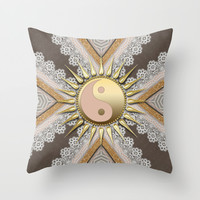 Sunny Yin Yang Gold Lace Throw Pillow by Webgrrl | Society6