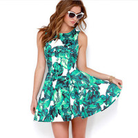Tropical Print Sleeveless A-Line Swing Mini Dress