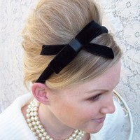 LAST ONE...Black Velvet Headband with Bow with ribbon