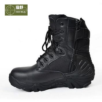 HANWILD Men Outdoor Breathable Athletic Shoes Tactical Boots Combat Military Boots Hiking Shoes Leather Men Waterproof Boots