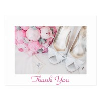 beautiful pink flowers & white shoes postcard