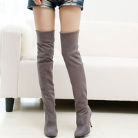 Pointed Toe Fur Over The Knee Boots High Heel Winter Boots