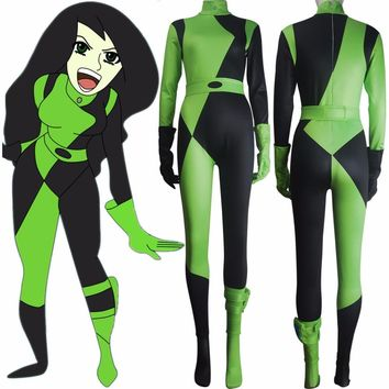 Women Kim Possible Shego costume jumpsuit super villain halloween costume zentai bodysuit xmas valentine's day gift