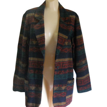 Southwest Clothing Rustic Clothing Southwestern Boho Blazer 90s Blazer Ladies Blazer Women Blazer Jacket Southwest Jacket Aztec Print Casual