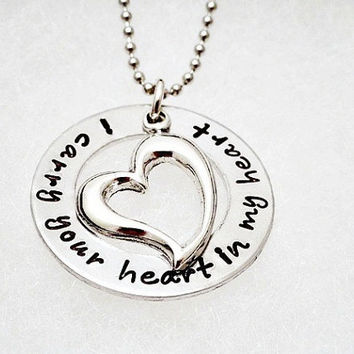 Personalized Necklace - I Carry Your Heart In My Heart - Hand Stamped - Personalized Jewelry