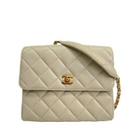 Chanel Ivory Caviar Leather and Gold Hardware Flap Crossbody Shoulder Bag