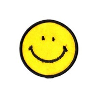 Happy Face / Smiley Embroidered Iron On or Sew On Patch