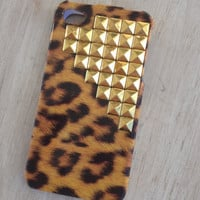 Ready to ship Leopard print iphone 4 case with gold studs by MellaFina