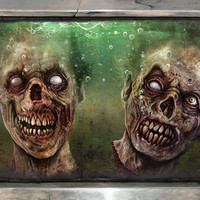 Floating Zombie Heads Print